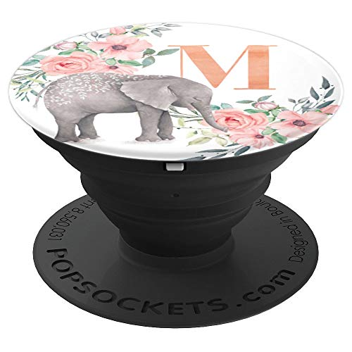Elephant Flowers Pink Monogram Name Initial Letter M