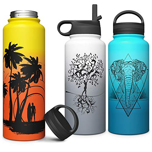 Sports Water Bottle Long Straw: Stainless Steel Vacuum Insulated Wide Mouth Water Bottle
